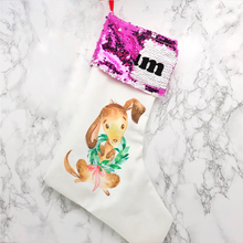 Personalised Dog Sequin Topped Christmas Stocking