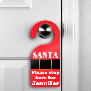 Personalised Santa Please Stop Here Christmas Santa Suit Door Hanger - Christmas - Molly Dolly Crafts