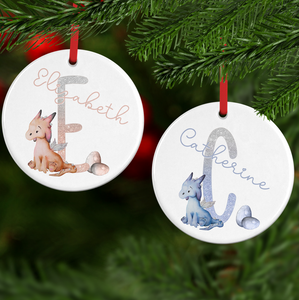 Dragon Alphabet Watercolour with Name Ceramic Round or Heart Christmas Bauble
