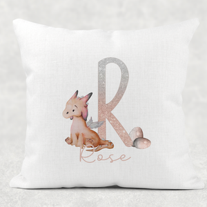 Dragon Peach Alphabet Cushion Linen White Canvas