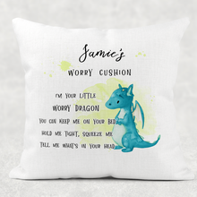 Dragon Personalised Worry Comfort Cushion Linen White Canvas