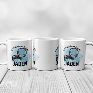 Gamer Personalised Mug Eat Sleep Game Repeat