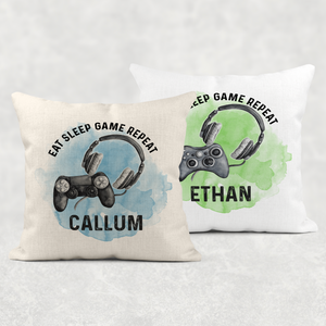 Gamer Personalised Cushion Eat Sleep Game Repeat Cover
