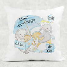 Elephant/Rabbit Baby Birth Stat Personalised Cushion Linen White Canvas
