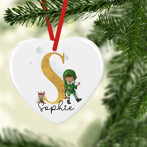 Elf Alphabet Watercolour Personalised Ceramic Round or Heart Christmas Bauble