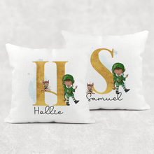 Elf Alphabet Personalised Christmas Cushion Cover Linen White Canvas