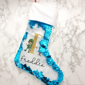 Elf Alphabet Personalised Fur Topped Sequin Christmas Stocking