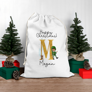 Elf Alphabet Personalised Christmas Santa Sack