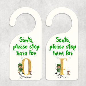 Elf Santa Please Stop Here Personalised Christmas Door Hanger