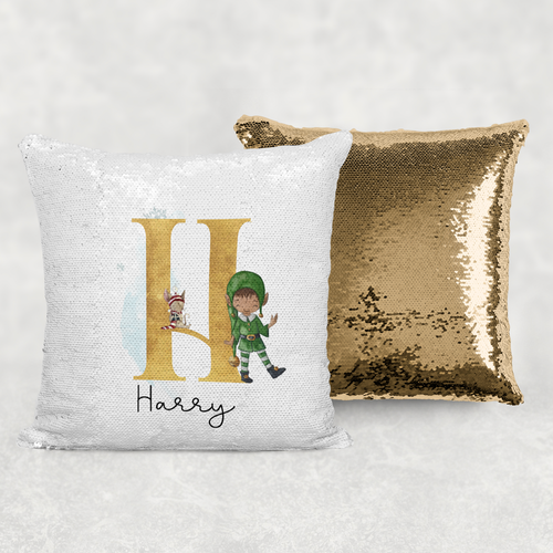 Elf Alphabet Christmas Personalised Mermaid Sequin Cushion