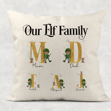 Our Family Elf Alphabet Personalised Christmas Cushion Cover Linen White Canvas