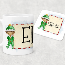 Elf Personalised Christmas Eve Mug and Coaster Set