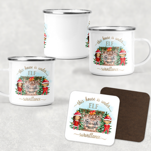 House is under Elf Surveillance Personalised Camping Mug & Coaster Christmas Hot Chocolate
