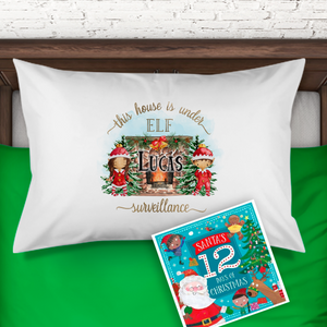 House is Under Elf Surveillance Personalised Christmas Eve Pillow Case & Book