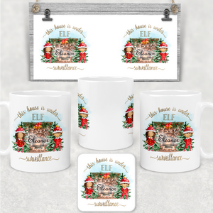 This House is Under Elf Surveillance Personalised Christmas Eve Mug and Coaster Set