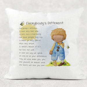 Everybody's Different Worry Comfort Cushion Linen White Canvas