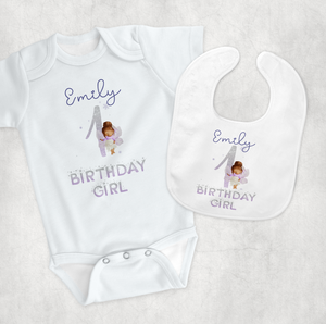 Fairy 1st Birthday New Baby Vest Bib Gift Set