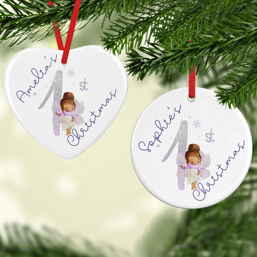 Fairy 1st Xmas Watercolour Personalised Ceramic Round or Heart Christmas Bauble