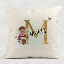 Fairy Alphabet Personalised Cushion Linen White Canvas