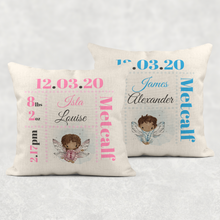Fairy Baby Boy Girl Birth Stat Personalised Cushion Linen White Canvas