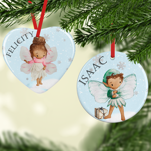 Fairy Watercolour Personalised Ceramic Round or Heart Christmas Bauble