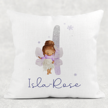 Fairy Glitter Alphabet Personalised Cushion Linen White Canvas