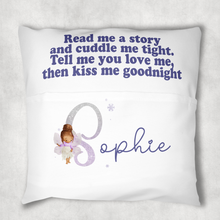 Fairy Glitter Alphabet Personalised Pocket Book Cushion Cover White Canvas