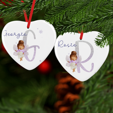 Fairy Alphabet Watercolour Personalised Ceramic Round or Heart Christmas Bauble