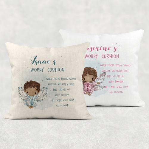 Fairy Personalised Worry Comfort Cushion Linen White Canvas