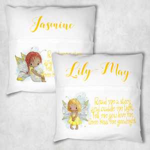 Yellow Fairy Personalised Pocket Book Cushion Cover White Canvas