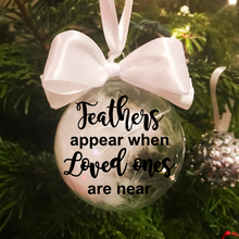 Feathers appear when Loved Ones are near Christmas Feather Glass Bauble - Bauble - Molly Dolly Crafts