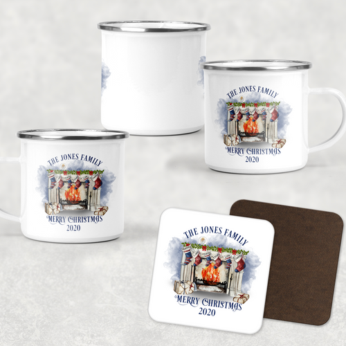 Festive Fireplace Personalised Camping Mug & Coaster Christmas Hot Chocolate