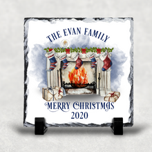 Festive Fireplace Personalised Christmas Slate