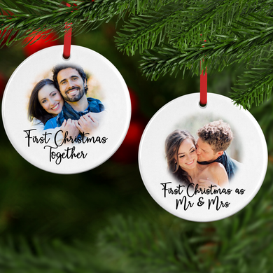First Christmas Ceramic Round or Heart Christmas Bauble