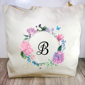 Initial Floral Wreath Tote Bag - Tote Bag - Molly Dolly Crafts