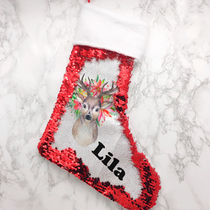 Personalised Floral Reindeer Sequin Christmas Fur Topped Stocking