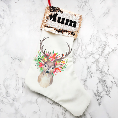 Personalised Floral Reindeer Sequin Topped Christmas Stocking