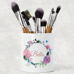 Floral Wreath Personalised Pencil Caddy / Make Up Brush Holder
