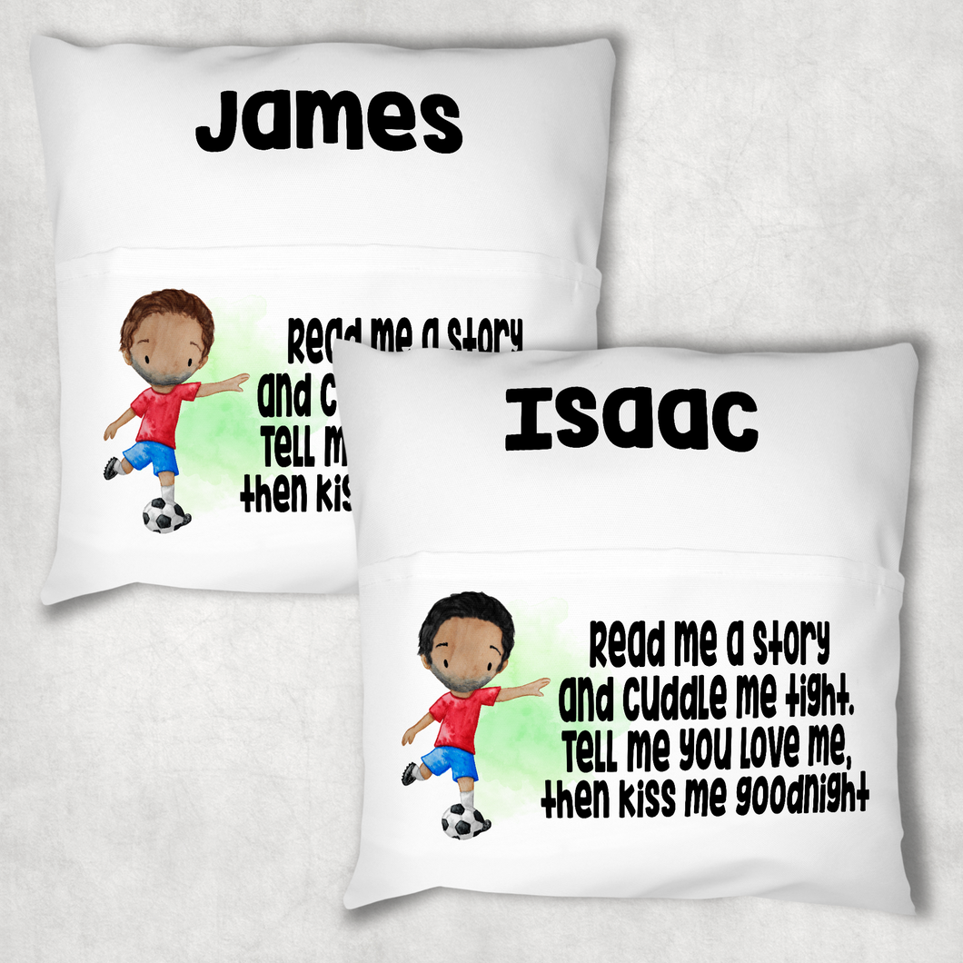 Football Personalised Pocket Book Cushion Cover White Canvas