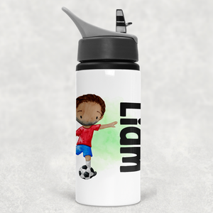 Football Personalised Straw Water Bottle 650ml