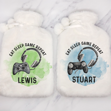 Gamer Eat Sleep Game Repeat Personalised Hot Water Bottle