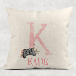 Gamer Girl Alphabet Personalised Cushion Linen White Canvas