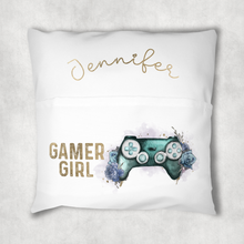 Gaming Girl Floral Personalised Pocket Book Cushion Cover White Canvas