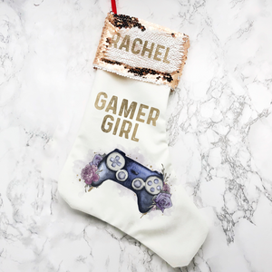 Gamer Girl Floral Personalised Sequin Topped Christmas Stocking