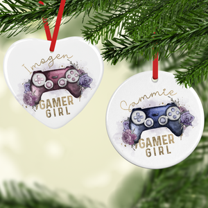 Gamer Girl Floral Watercolour Personalised Ceramic Round or Heart Christmas Bauble
