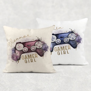 Gamer Girl Floral Personalised Cushion Linen White Canvas