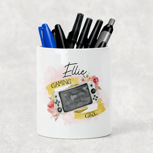 Gaming Girl Personalised Pencil Caddy / Make Up Brush Holder