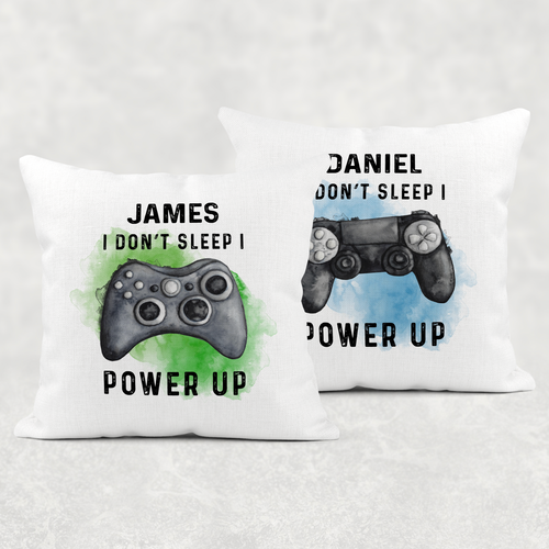 Gamer Personalised Cushion I Don't sleep I Power Up Cover