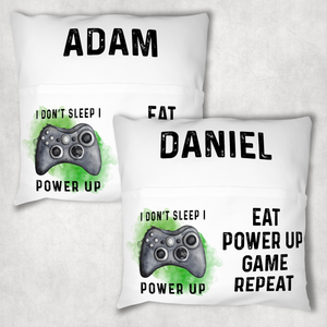 Gamer Personalised Pocket Book Cushion Cover White Canvas I Don't sleep I Power Up Book Cover
