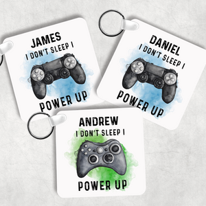 Gamer Personalised Keyring Bag Tag I Don't Sleep I Power Up